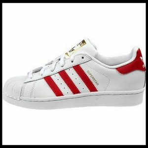 Adidas Superstar White Red Shell Toe Sneakers 4.5